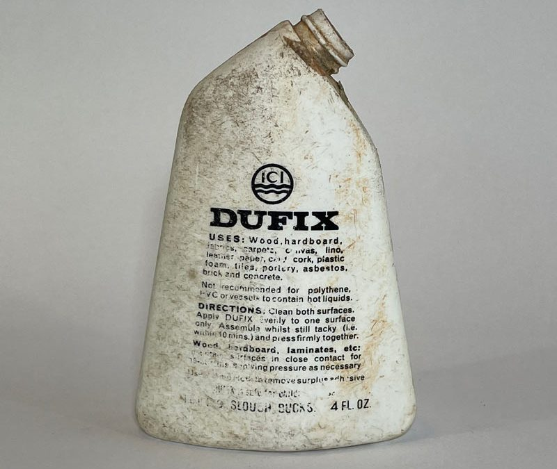 ICI Dufix Adhesive Bottle 1960's